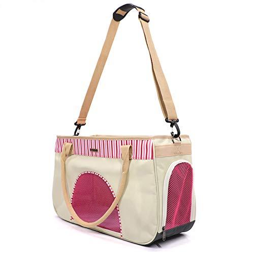 YOCC Glatter ReißverschlussSoft-Sided Pet Carrier, Haustiergepäcktasche | Gemütliches und weiches Hundebett | Einstellbarer, sicher zusammenlegbarer Zwinger für Katzen und kleine Hunde,Pink,L (Fluggesellschaft Genehmigt Hund Zwinger)