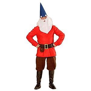 WIDMANN 01363?Adultos Disfraz Enano, chaqueta, pantalones, cinturón con funda, zapatos überzieher, sombrero con orejas, Cejas y barba, Rojo