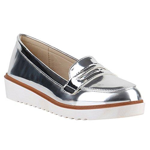 Stiefelparadies Damen Lack Slipper Loafers Metallic Quasten Profilsohle Schuhe 139193 Silber Lack Metallic 38 Flandell