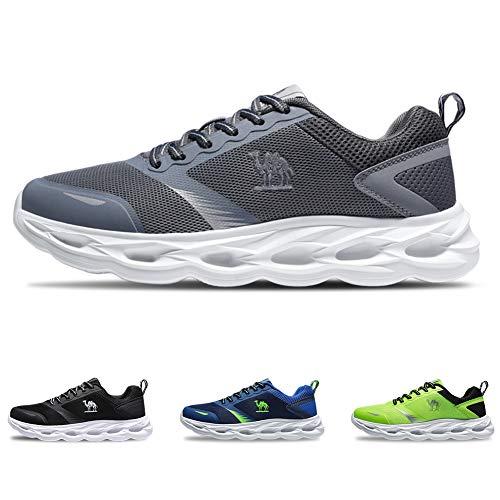CAMEL CROWN Sportschuhe Herren Freizeit Mode Sneaker Laufschuhe Turnschuhe Leichte Bequeme Running für Männer Jungen Sport Gym Fitnessschuhe, Grau, 46 EU