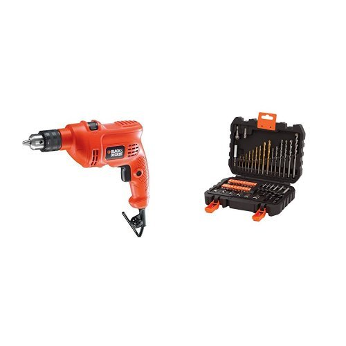 Trapano a Percussione Black&Decker KR504RE + A7188-XJ Set 50 Pezzi