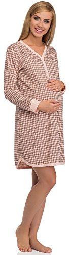 Cornette Stillnachthemd 654/03 Aprikose/Braun