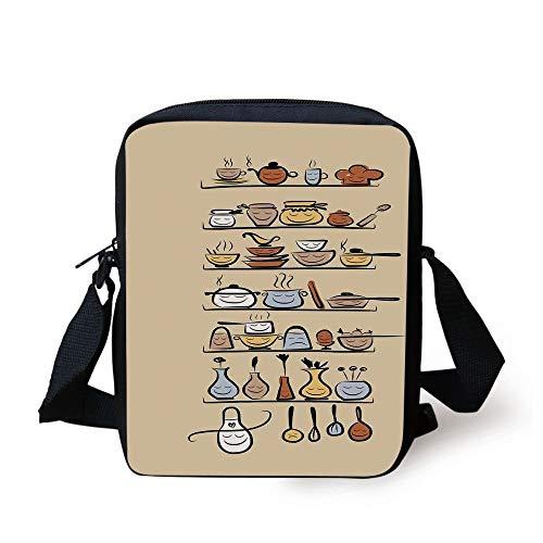Kitchen Decor,Kitchenware and Utensils Appliances Ornaments Spice Rack Vintage Retro Style Design,Brown Cream Print Kids Crossbody Messenger Bag Purse -