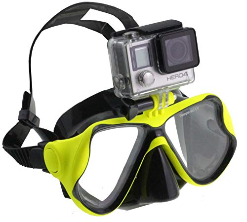 Navitech grüne Tauchmaske mit Halterung Kompatibel mit DBPOWER Waterproof Action Sports Camera