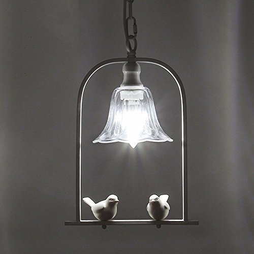 MeloveCc Kronleuchter Die Kreative Möbel und Beleuchtung Amerikanische Einfachheit Vogel Glas Weiß 3-Watt-LED weißes Licht 25 * 31 Cm (Antike Amerikanische Möbel)