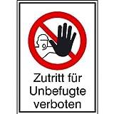 Zutritt für Unbefugte verboten Verbotsschild, selbstkl. Folie ,13,10x18,50cm