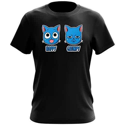 Okiwoki T-Shirt Noir Fairy Tail parodique Happy Vs Grumpy Cat : Happy Grumpy (Parodie Fairy Tail)