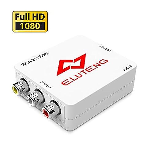 ELUTENG AV auf HDMI Konverter 1080P CVBS AV zu HDMI Adapter Composite Video Signal HDTV Konverter R/L RCA HDMI Wandler mit USB