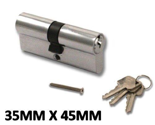 High Security, Anti Drill Euro Cylinder Locks Door Barrel - Chrome - UPVC, Aluminium, Composite, Patio (Chrome, 35x45) by HomeSecure (Barrel Composite)