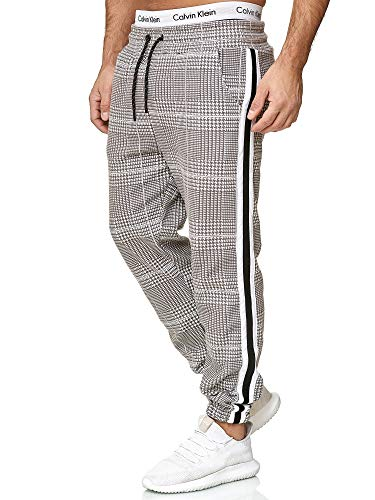 OneRedox Herren | Jogginghose | Trainingshose | Sport Fitness | Gym | Training | Slim Fit | Sweatpants Streifen | Jogging-Hose | Stripe Pants | Modell 1226 Grau Weiss XL -