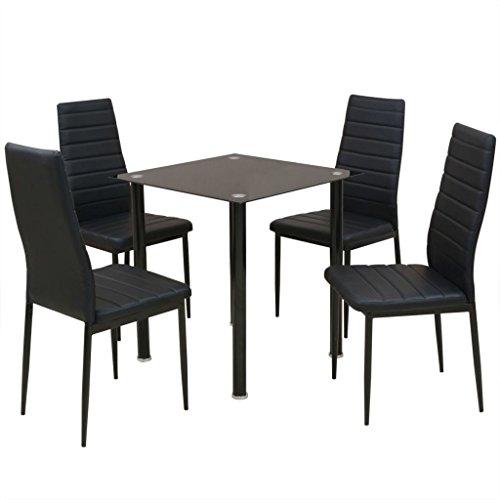 FZYHFA Set Tisch mit Stuhl Esszimmer 5teilig schwarz Waschtisch - Schwarzer Esszimmer Tisch