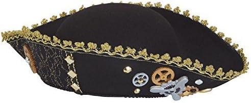 Donna Tricorno Steampunk Inventore Vittoriano Selvaggio West Capitano Pirata Cappello Decorato per Vestito Costume Accessorio