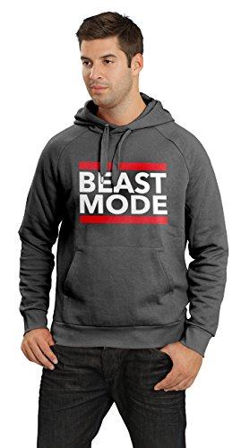 BLOGGER CLLCTION Beast Mode Herren Kapuzen Pullover Fitness und Bodybuilding Männer Sweater, Dunkelgrau