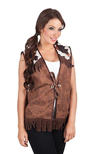 Boland 54322 - Western Weste für Erwachsene, M, braun (Cowgirl Kostüm Für Erwachsene)