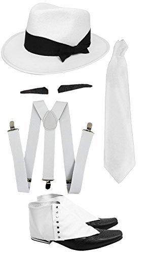 ILOVEFANCYDRESS Gangster Kostüm der 1920er Reihe -Zubehör Set Deluxe - Weiß Hosenträger + Weiße Krawatte + Schwarzer Spiv/Schnurrbart + Gamaschen + Weißer Trilby-Hut (Weiß Schnurrbart Kostüm)