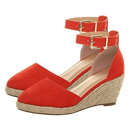 COZOCO Damen Schnalle Knöchel Strap Sandalen Keile Sandalen Sommer atmungsaktive Schuhe Weben Schuhe(rot,36 EU)