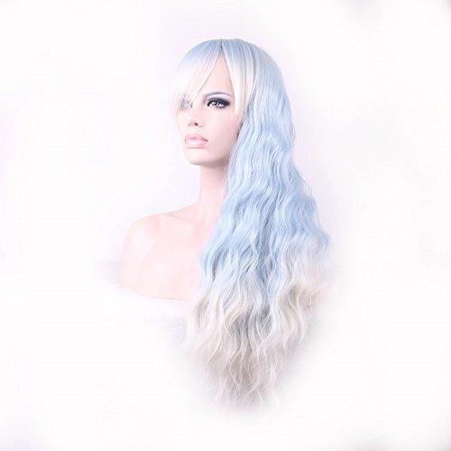 Damen Lange heiße Welle lockige Cosplay Haar-Verlängerungen Oblique Pony Hitzebeständige Perücke 70cm Weiß Hellblau (Taobao Cosplay Kostüme)