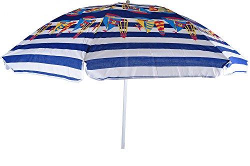 Baumwoll Sonnenschirm 160 cm diverse Farben Strandschirm Sonnenschutz Camping, Farben:blau weiß m Motiven