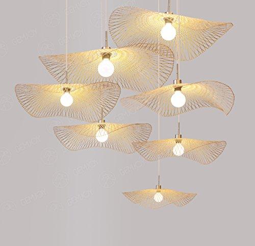 PinWei@ Pendente, handmade in rattan rattan Lampadario a forma di foglia di loto,diametro 35