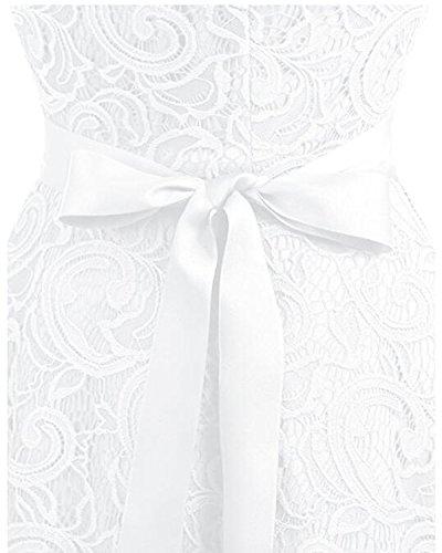 Kidsform Damen Spitzen Kleider Ärmellos V-Ausschnitt Partykleid 50er Jahre Abendkleider Cocktailkleid Elegant für Hochzeit Ballkleid Weiß EU 38-40/Etikettgröße M - 5