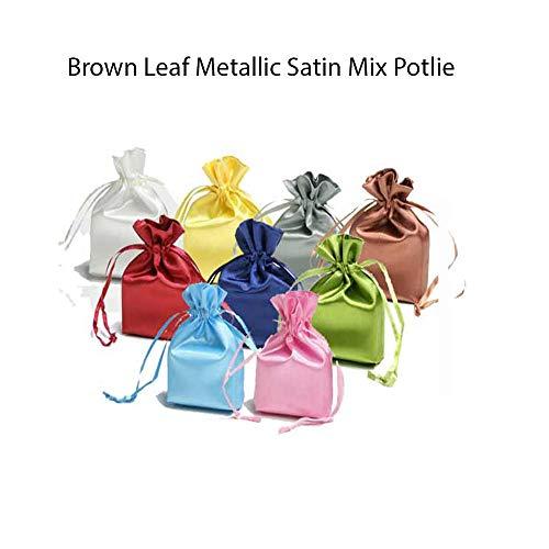 Brown Leaf® Metallic Organza Satin Potlie Bag (10 *14 inch) Pouch Best for Birthday Return Gift,Weeding,Anniversary ,Baby Shower Gifts Goodies Bag (Set of 18)