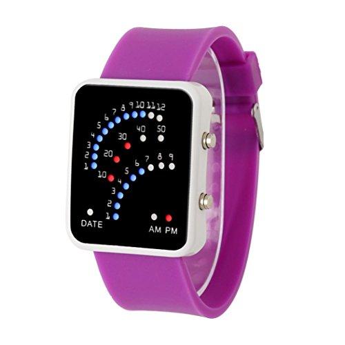 LSAltd Frauen Männer Futuristische Wasserdichte Uhr Unisex Multicolor LED Sport Armbanduhr (Purple) Einzigartigen Männer Uhren