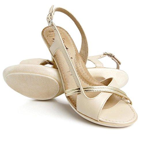 Batz Edit Damen Hochwertigem Sommer Sandaletten, Sandalen, Lederschuhe, Schuhe Beige