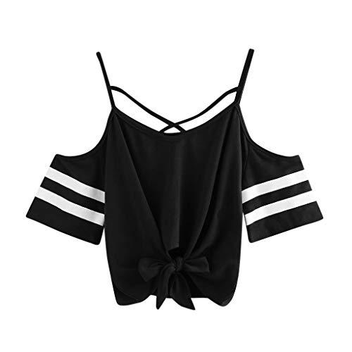 Streifen-rüschen-bluse (Weant Damen Sommer T-Shirts Riemen Rundhals Tie up Kurzarm Crop Top Saum Streifen Shirt Junges Mädchen Oberteil Bluse)