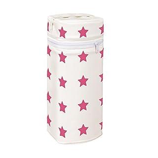 Asmi Thermobox Warmhaltebox Sterne für Standart und Weithalsflasche (Creme + Sterne Beere)