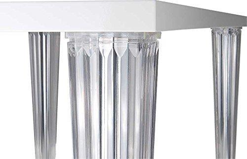 Fiesta Langer Schicker Bauhaus Büro- Esstisch mit Transparenten Plexiglass Beinen. Abbildung Lack...