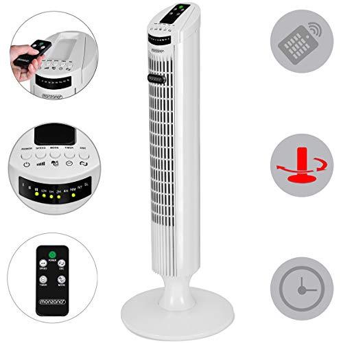Ventilador de Torre con Mando a Distancia Función Turbo 3 Niveles de velocidad - ángulo de oscilación...