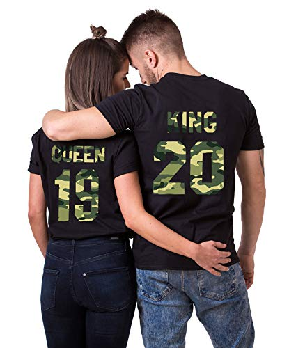 Daisy for U King Queen Shirts Couple Shirt Pärchen T-Shirts Paar Tshirt König Königin Kurzarm 1 Stücke, King(herren), L
