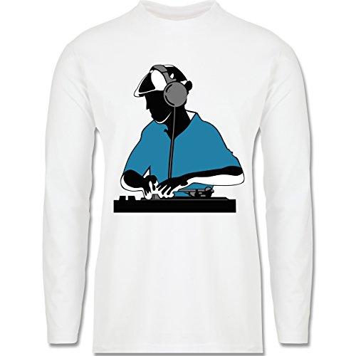 DJ - Discjockey - Discjockey - Longsleeve / langärmeliges T-Shirt für Herren Weiß