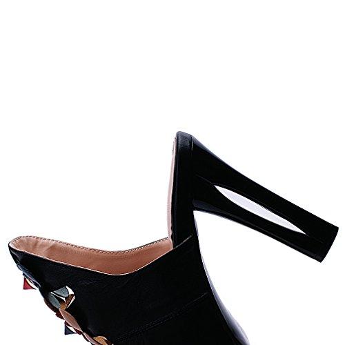 ENMAYER Femmes Tendon bas Peep Toe Talons hauts Appliques Casual Dress Slipper Sandales Noir
