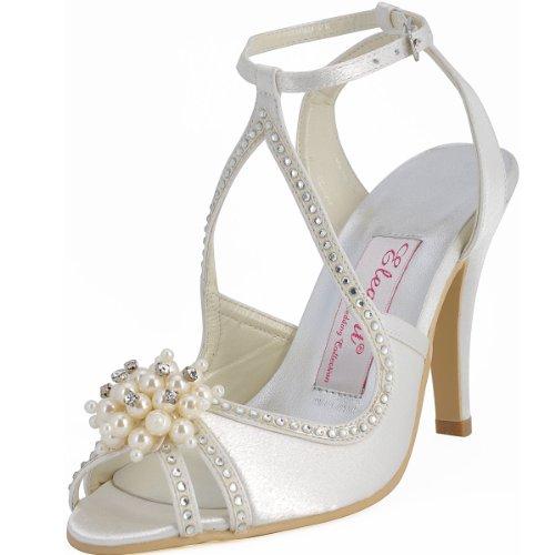 Elegantpark Sandales Chaussures Ivoire Pumps Strass Aiguille EP11058 Bout de Femme Ouvert Talon Mariage Perle Satin AFArvw