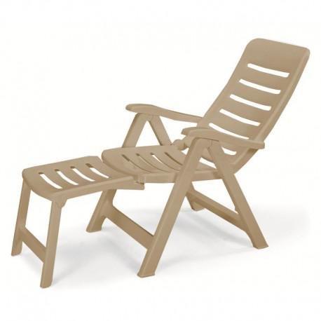 Ideapiu Fauteuil en résine Taupe avec rallonge, fauteuils Pliantes d'extérieur, Fauteuil en Plastique réglable