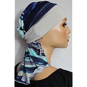 Beanie Mütze Schlauchmütze Beige Blau Streifen Sommermütze little things in life Chemo Cap Hat Chemomütze Mütze bei Krebs Kopfbedeckung Turban
