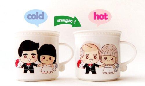 Cozyswan Kaffeetasse Keramik Tasse verfärbung Teetasse Liebestasse mit Löffel Liebespaar Geschenk (Romantisches Leben)