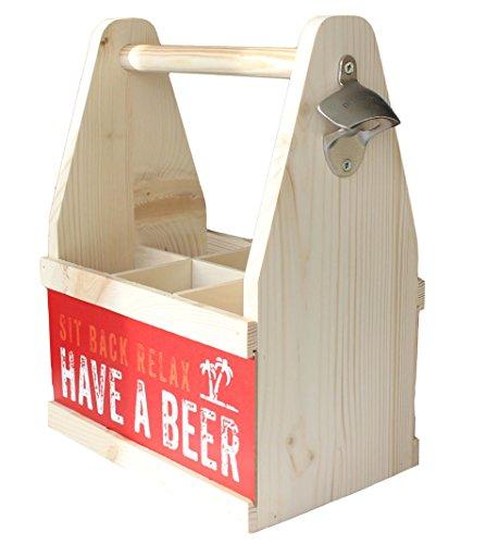 Contento Bierflaschenträger mit Flaschenöffner, Holz Natur, 26 x 17 x 34 cm -