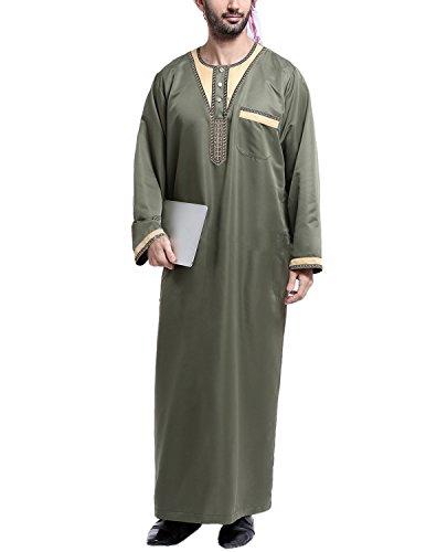Imagen de ycheng hombres árabe musulmán thobe manga larga étnico floral con botón bolsillo camisa camiseta disfraces verde 2 xl
