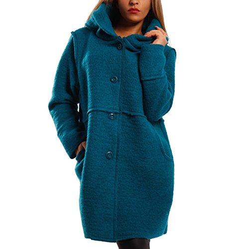 Damen Oversized Jacke Herbst Winter Mantel mit Schalkapuze Brit-Chic, Farbe:Petrol;Größe:One Size