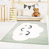 carpet city Kinderteppich Bubble Kids Flachflor mit Wolken-Motiv in Mint-Grün für Kinderzimmer; Größe: 80x150 cm