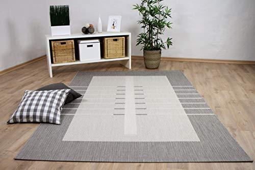 interiortrend In & Outdoor Teppich Flachgewebe Carpetto Bordüre Trend Grau 4 Größen