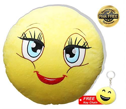 Emoji pillow lady faccina con colori vivaci d32cm, miglior giocattolo per bambini da 2 anni, perfetto coccolone e cuscino divertimento garantito, regalo ideale per un compleanno e come decorazione