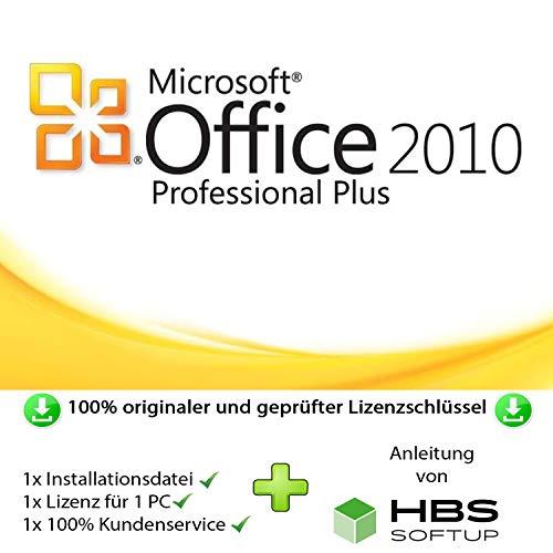 MS Office 2010 Professional Plus 32 bit & 64 bit Vollversion Multilingual - Original Lizenzschlüssel per Post und E-Mail + Anleitung von HBS SOFTUP® - Versand max. 60Min