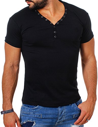 Young&Rich Herren Uni feinripp Basic T-Shirt mit Knopfleiste & tiefem V-Ausschnitt deep V-Neck Slim fit einfarbig 1873, Grösse:3XL;Farbe:Schwarz