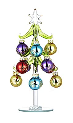 Youseexmas Glass Christmas Tree Decorated with Color Glass Ornaments 7.90 inch High