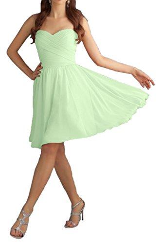 Prom Style Damen Chiffon Kurz A-Linie Abendkleider Ballkleider Cocktailkleider in mehre Farben Hellgruen