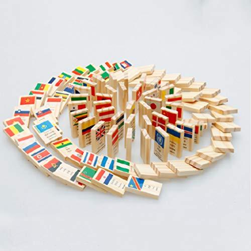 qingqingR Holz Nationalflagge Domino Bausteine   Set Geographie Frühe Pädagogische Spielzeug Kinder Geschenk (Domino-sets Für Den Verkauf)