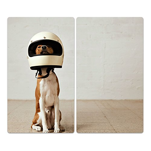 'herdabdeckplatten di vetro decorativo 'Cane in casco di vetro M. Noppen, altezza e in due parti, vetroceramica, tagliere, Paraspruzzi, Vassoi, la parete della cucina, Zweit